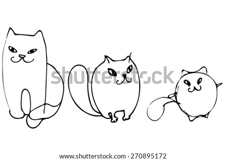 black and white vector sketch of three beautiful kittens - stock vector