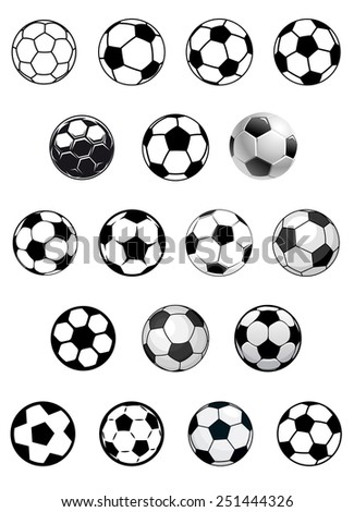 Black and white vector soccer balls or footballs isolated on white background for heraldic or sporting emblems design - stock vector