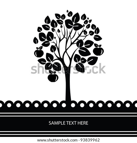 Black and white vector tree stylized with apples