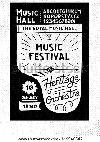 Black and white vector vintage music poster template concert piano with your text on top