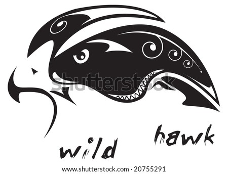 Black and white vector: wild hawk. Tribal tattoo style. Very easy to edit: all elements are separated - stock vector