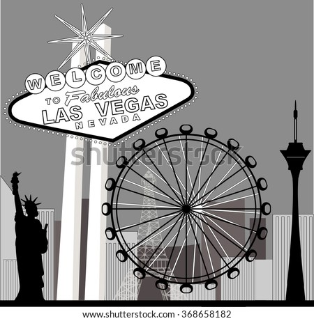 Black and white vegas featuring the High Roller Ferris  Wheel  - stock vector