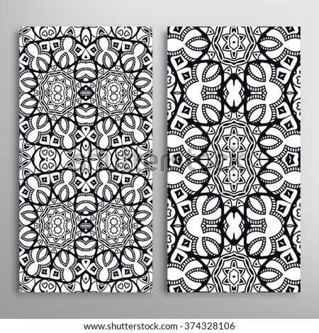 Black and white vertical seamless geometric patterns set with hand drawn doodle sketch texture for fabric or paper print, invitations or cards design. Vector collection