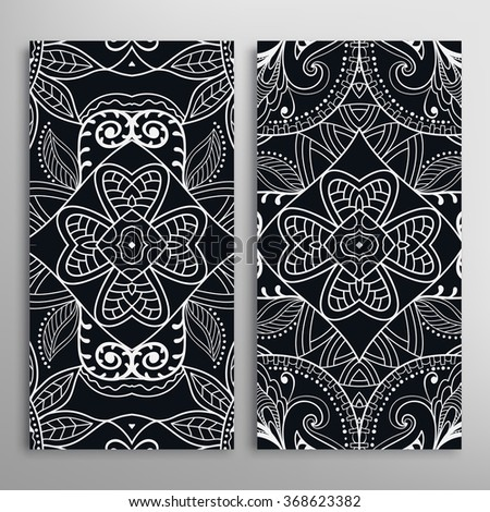 Black and white vertical seamless geometric patterns set with hand drawn texture for fabric or paper print, invitations or cards design. Vector collection