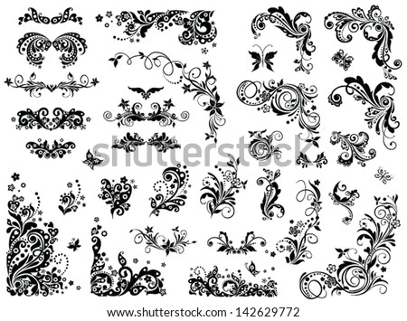 Black and white vintage design elements - stock vector