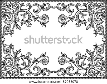 black and white vintage frame, isolated - stock vector