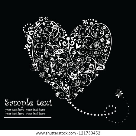 Black and white vintage greeting card with heart shape - stock vector