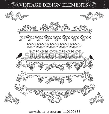 Black and white Vintage ornament set. Vector illustration - stock vector