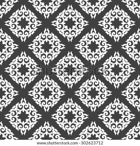 Black and white wallpaper in classic style. Damask pattern. Seamless vector background. - stock vector