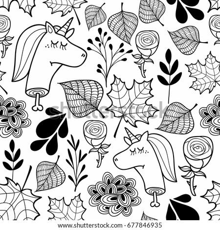 Black White Wallpaper Dead Unicorns Coloring Stock Vector ...