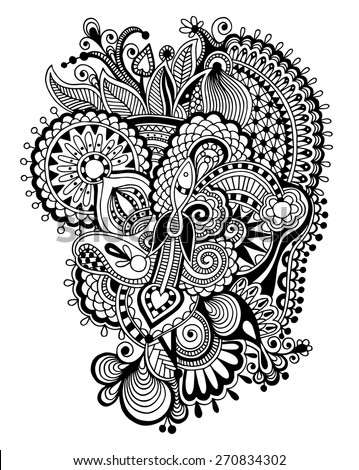 black and white zentangle line art flower drawing, graphic print for your design, vector illustration  - stock vector