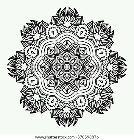 Black and white zentangle mandala isolated on white background. Vector Illustration. Hand drawn, made by trace from sketch. Can be used as package design element, t-short print etc. - stock vector