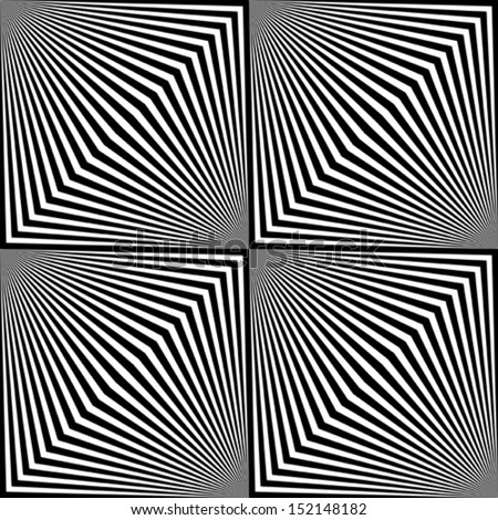Black and white zigzag pattern. Optical illusion. - stock vector
