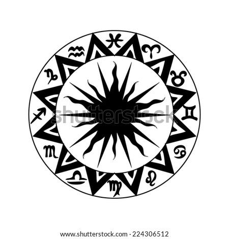 Black and white zodiac icon - stock vector