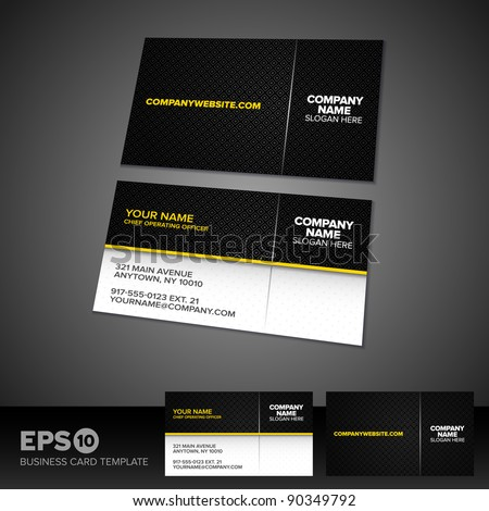 Black and yellow business card template with patterned background - stock vector
