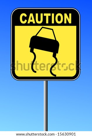 black and yellow caution sign against blue sky - road slippery - stock vector