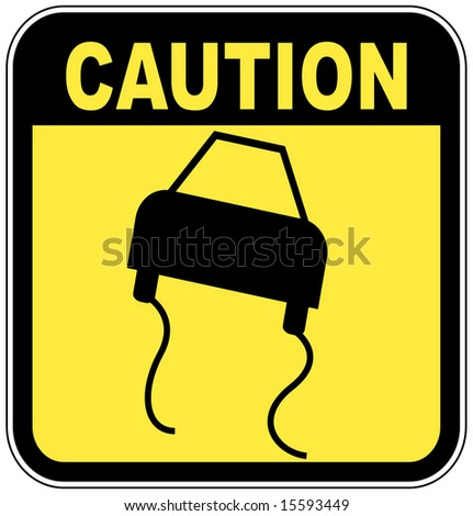 black and  yellow caution sign - road slippery - stock vector