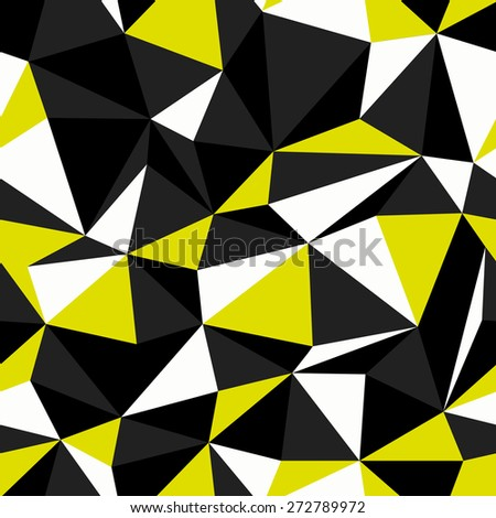 Black and Yellow Colors Triangle Seamless Pattern - stock vector