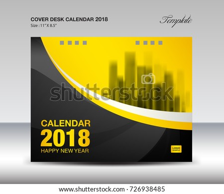 Black Yellow Cover Desk Calendar  Stock Photo Photo Vector