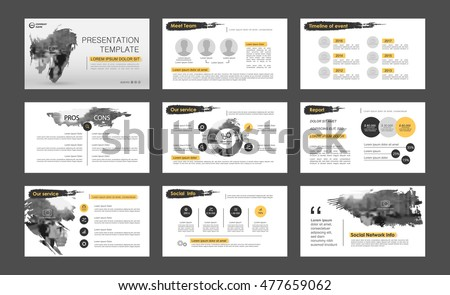 Black and yellow elements for infographics on a white background. Presentation templates. Use in presentation, flyer, corporate report, marketing, advertising, annual report