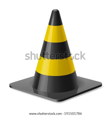 Black and yellow road cone. Safety sign used to prevent accidents during road construction
