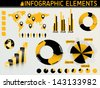 Black and yellow set of infographic elements - stock vector