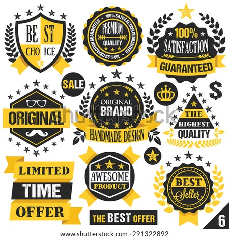 Black and yellow stickers, badges, labels and ribbons. Set 6  - stock vector