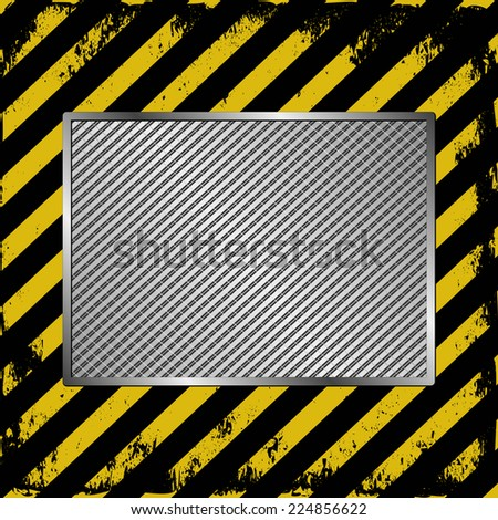black and yellow stripes  with metallic banner - stock vector