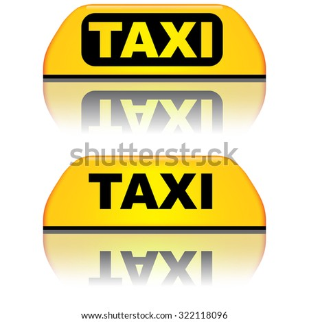Black and yellow taxi top sign vector illustration. - stock vector