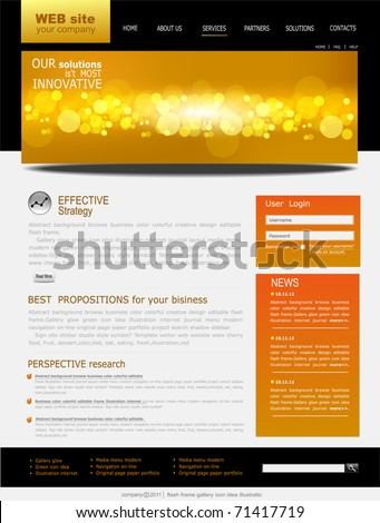 black and yellow Vector Web site for business - stock vector