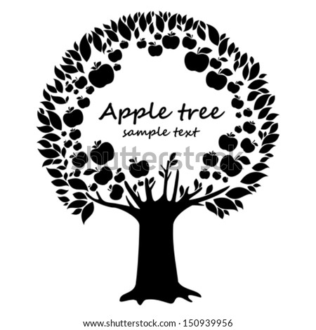 Black apple tree isolated on White background. Natural background with apple tree and place for your text. Vector illustration  - stock vector