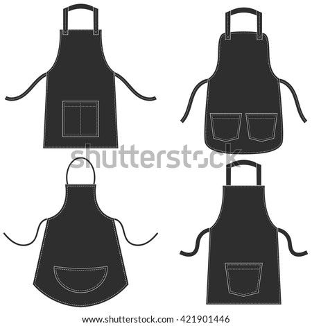 Black apron set isolated on white - stock vector