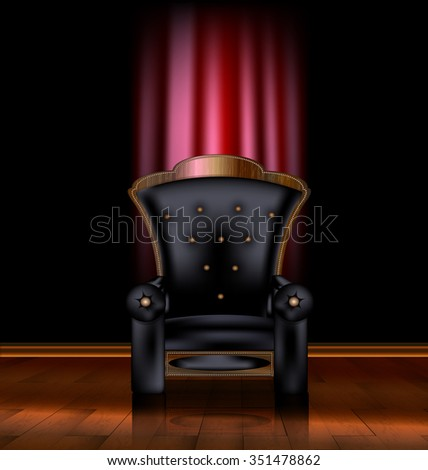 black armchair and red drape - stock vector