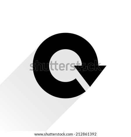 Black arrow icon reload, refresh, rotation, reset, repeat sign 17. Web pictogram with gray long shadow on white background. Simple, solid, plain, flat style. Vector illustration graphic design 8 eps - stock vector