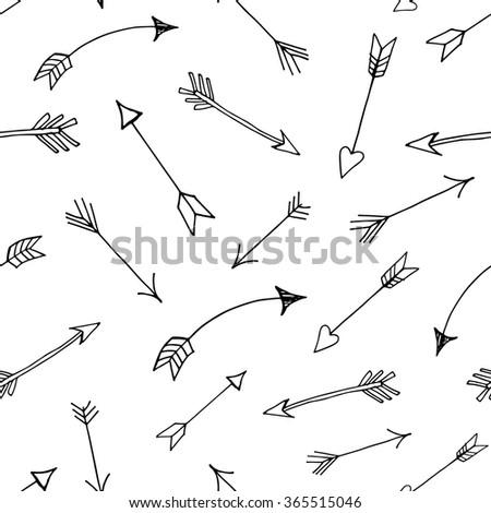 Black arrows - seamless pattern, vector - stock vector