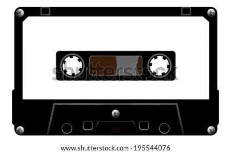 Black audio cassette tape with blank white label, simple style design. vector art image illustration, isolated on white background - stock vector