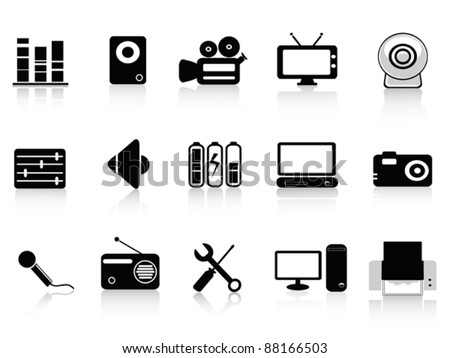 black audio, video and photo icons - stock vector