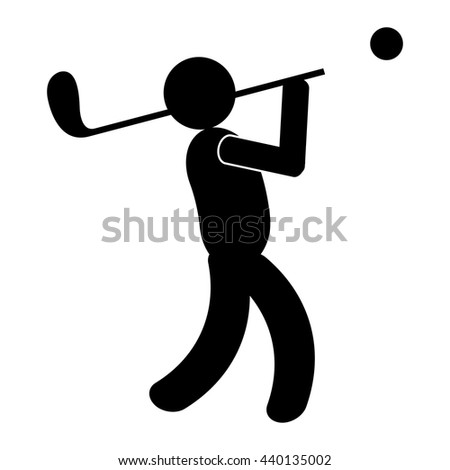 black avatar man and golf bats side view over isolated background,vector illustration