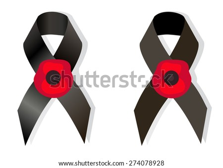 Black Awareness Ribbon Flower Poppy Symbol Stock Vector Hd Royalty