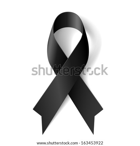 Black awareness ribbon on white background. Mourning and melanoma symbol. - stock vector