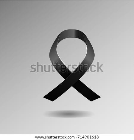 Black Awareness Ribbon Symbol Mourning Melanoma Stock Vector
