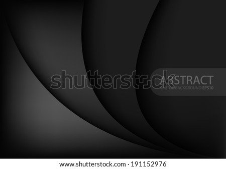 Black background gray curve line on space shadow overlap and dimension modern texture pattern for text and message website design - stock vector