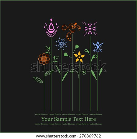 black background whit colorful flowers - stock vector