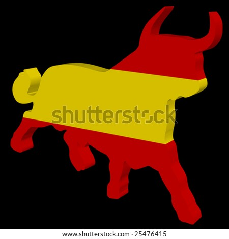 black background with a plastic bull in the spanish colors - stock vector
