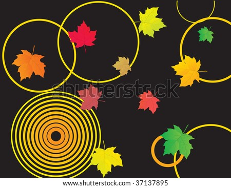 Black background with autumn leaves. Vector illustration