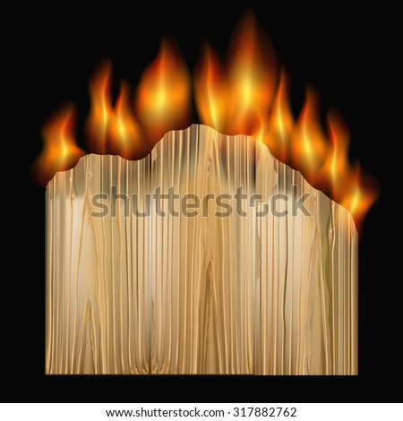 black background with burning board. vector illustration - stock vector