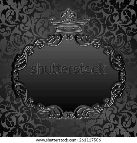 black background with crown - stock vector