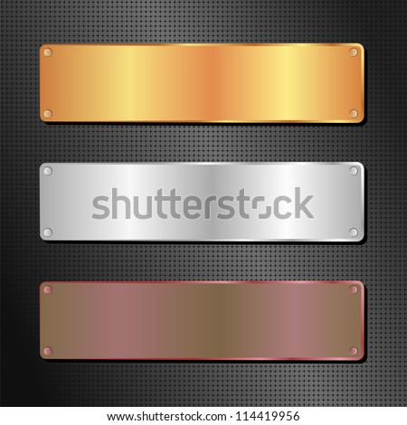 black background with gold, silver and brown banner - stock vector