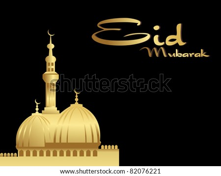 black background with golden mosque, illustration - stock vector