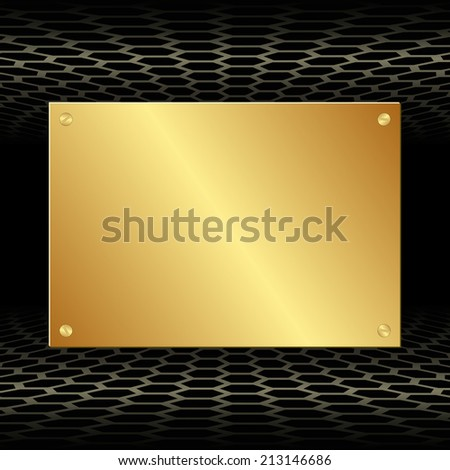 black background with golden plate - stock vector